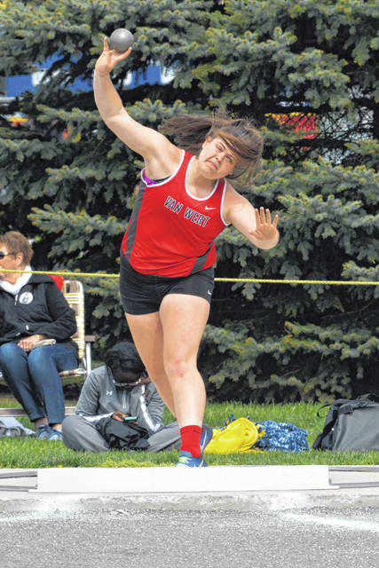 Van Wert's Abby Jackson competes in the shot put during Friday night's Western Buckeye League Championships at Ottawa-Glandorf.