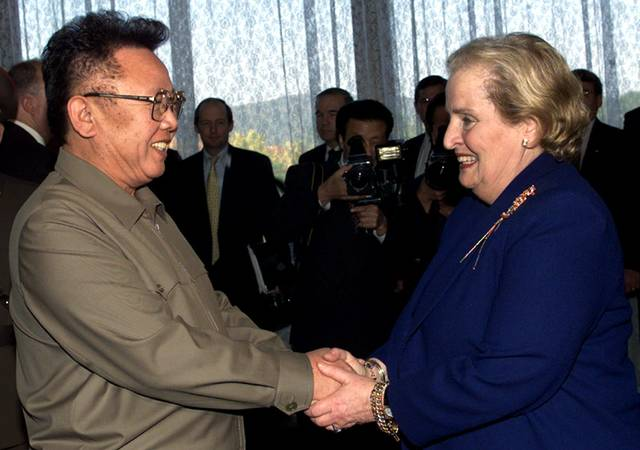 North Korean Leader Kim Jong Il left shakes hands with U.S. Secretary of State Madeleine Albright at the Pae Kha Hawon Guest House in Pyongyang. President Donald Trump's Singapore summit with Kim Jong Un may
