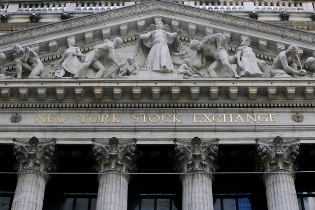 FILE- This April 5, 2018, file photo shows the facade of the New York Stock Exchange. The U.S. stock market opens at 9:30 a.m. EDT on Thursday, June 14. (AP Photo/Richard Drew, File)