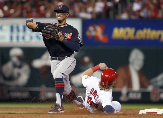 St. Louis Cardinals' Harrison Bader is out at second as Cleveland Indians shortstop Francisco Lindor, right, turns the double play during the second inning of a baseball game Monday in St. Louis. The Cardinals' Kolten Wong was out at first.