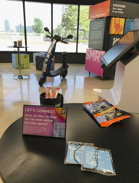 Items on display in the Smart Columbus Experience Center in downtown Columbus, Ohio, on Friday, June 29, 2018, a day before its grand opening. Ohio's capital city wants people to get smart about how they get to places and is opening an interactive learning center to show them how.