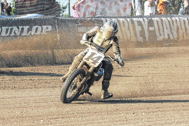 Briar Bauman rounds the fourth turn during his American Flat Track Indian Motorcycle Lima Half-Mile qualifying run Saturday at the Allen County Fairgrounds.