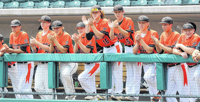 Coldwater players cheer on their team during Saturday's Division III state championship game at Huntington Park in Columbus.  Richard Parrish | The Lima News