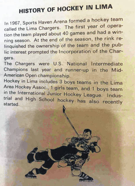 Here is a brief history of Lima hockey that appeared in the Lima Chargers 1970 program.