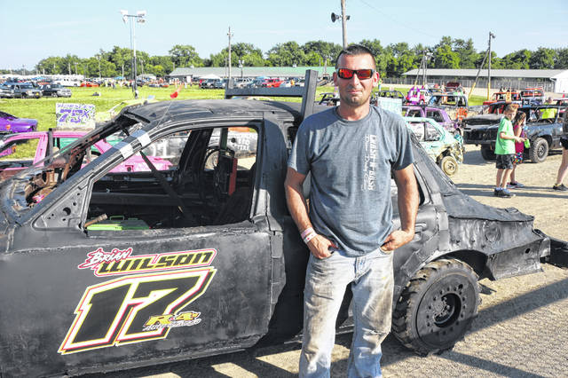 Brian Wilson of Findlay was one of the drivers in Saturday night's demolition derby at the Putnam County Fair in Ottawa.