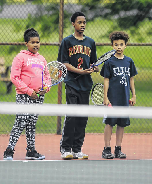 More than 80 campers showed up for the first day of theLima Area Tennis Association and Lima Parks & Recreation Department Free Tennis Lessons Camp at Collett Street Tennis Courts Monday. The camp will run through June 21.