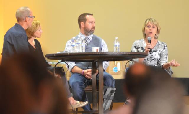 Business Consultant Mike Gingerich, 50 Strong CEO Ashley Thompson, Alter Ego Comics Owner Marc Bowker and Allen County Board of Developmental Disabilities Superintendent Theresa Schnipke explain how their organizations deal with social media on a day-to-day basis during a panel at Social Media Week Lima 2018.