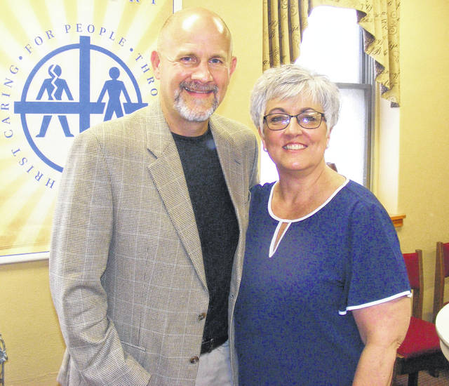 Pastor Chris Farmer poses with his wife Melinda. Farmer will be the new pastor at First United Methodist Church in Van Wert on July 1.