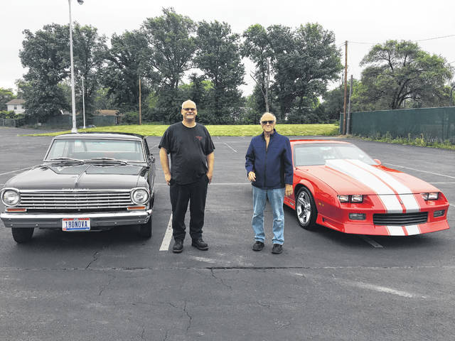 John Waller, left, stands by his 1963 Chevy Nova, and Andy Maravola stands by his 1991 Chevy Camaro. Waller and Maravola are co-founders of the Charity Car Show, which will be held from noon to 5 p.m. Sunday, June 24, at Lima Chevrolet Cadillac, 2200 N. Cable Road, Lima.