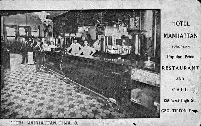 A postcard shows the bar of the Manhattan Hotel, sometimes stylishly called Hotel Manhattan, when it was operated by George Tipton. It was located at 125 W. High St.