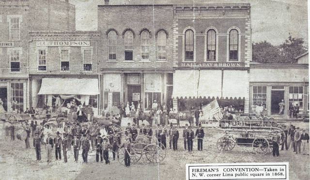 This photo of a Fireman's Convention was taken in 1868 in the Northwest corner of the Lima public square.