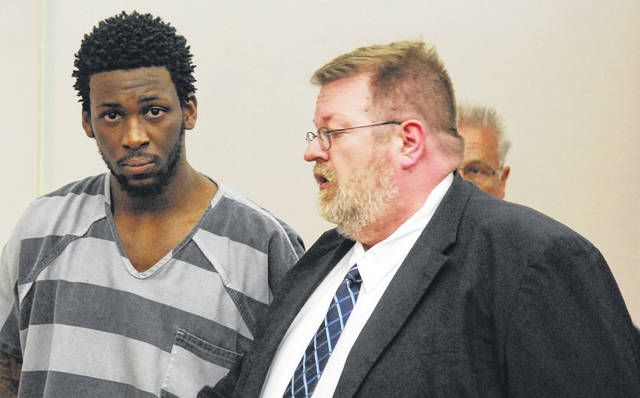 J Swygart | The Lima News DeArin Thomas of Lima was sentenced to 14 years in prison Monday in Allen County Common Pleas Court for the 2017 shooting death of Davohn Godsey at the Gas Station Bar.