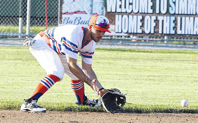 Lima Locos second baseman John Privitera fields a grounder during Friday night's game against Grand Lake at Simmons Field.