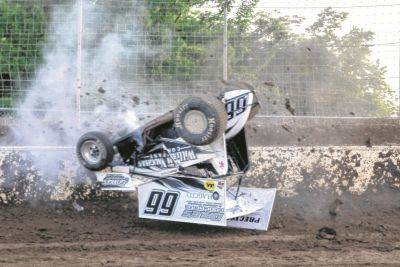 Chase Dunham was able to walk away from this crash Friday night at Limaland Motorsports Park.