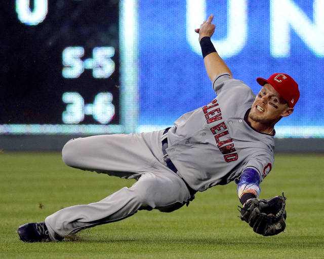 Cleveland Indians right fielder Brandon Guyer catches a fly ball for the out on Kansas City Royals' Jorge Bonifacio during the fifth inning of a baseball game Tuesday.