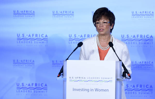 """FILE - In this Aug. 4, 2014 file photo, then White House Senior Adviser Valerie Jarrett speaks in Washington during the Investing in Women, Peace and Prosperity luncheon of the 2014 US Africa Summit. Great American Republic, a website that describes itself as a news curator, published the claim July 1 as part of a story suggesting that Obama is """"helping lead the anti-Trump resistance from his DC compound."""" The report did not provide any details or a source for the information. Obama's personal office denied that Jarrett has moved in with him and his wife Michelle. Jarrett could not be reached for comment."""