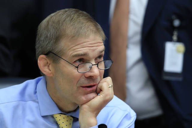 "Rep. Jim Jordan attends a joint hearing on ""oversight of FBI and Department of Justice actions"" on Thursday. AP Photo/Manuel Balce Ceneta)"