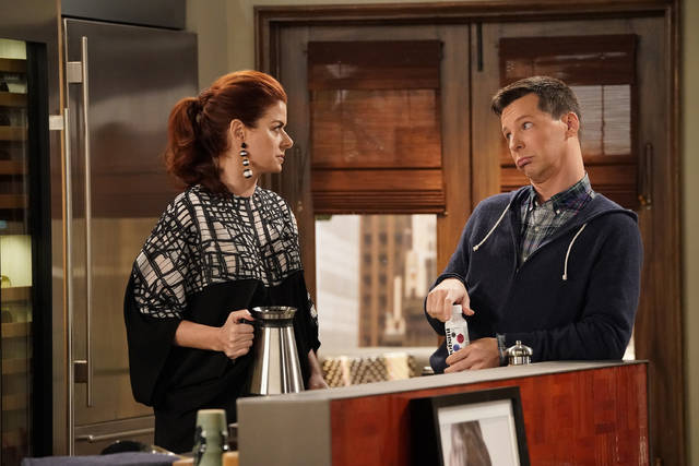 "This image released by NBC shows Debra Messing as Grace Adler, left, and Sean Hayes as Jack McFarland in a scene from ""Will & Grace."" That show, along with ""Roseanne,"" ""Twin Peaks"" and ""American Idol,"" were among the reboots largely snubbed by the television academy on Thursday."