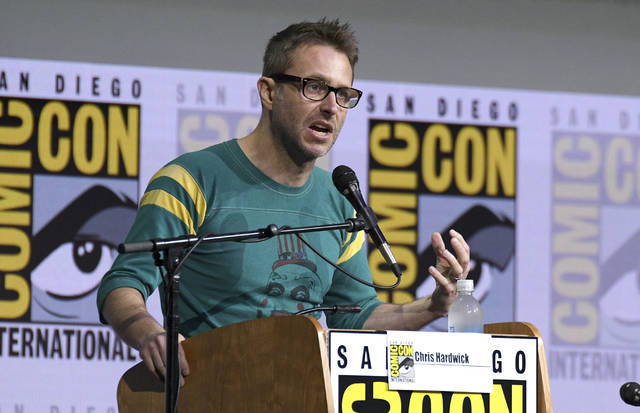 """Chris Hardwick moderates the """"Fear The Walking Dead"""" panel at Comic-Con International in San Diego on July 21, 2017. Hardwick, a mainstay at Comic-Con and moderator of numerous panels, stepped aside from moderating AMC and BBC America panels amid allegations from an ex-girlfriend, which Hardwick denied."""