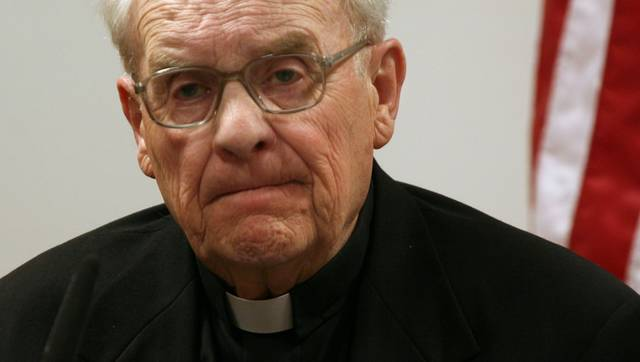 FILE - In this May 18, 2009 file photo, former Seattle Archbishop Raymond Hunthausen, 87, retired and living in Montana, testifies at the King County Courthouse in Seattle. Former Seattle Archbishop Raymond G. Hunthausen has died at 96. The Roman Catholic archdiocese says Hunthausen died Sunday, July 22, 2018, at his home in Helena, Montana. Hunthausen served as the bishop of Helena from 1962 to 1975 and as archbishop of Seattle from 1975 to 1991. (Ellen Banner/The Seattle Times via AP, File)
