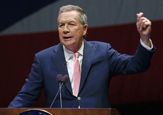 FILE – In this March 6, 2018, file photo, Ohio Gov. John Kasich speaks during the Ohio State of the State address in the Fritsche Theater at Otterbein University in Westerville, Ohio. Following condemned killer Robert Van Hook's death by lethal injection on July 18 the Republican governor has finished dealing with executions for the remainder of his time in office, after sparing seven men from execution during his two terms and allowing 15 executions to proceed.