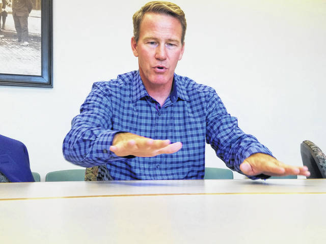Jon Husted, current Ohio Secretary of State and candidate for Lt. Governor, visited The Lima News Monday.