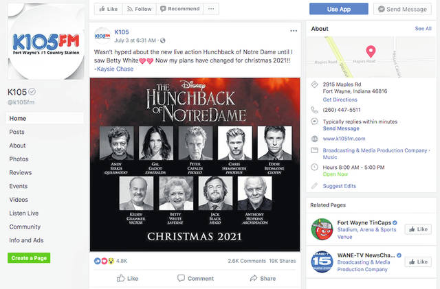"""This screenshot from the Facebook page of K105-FM in Fort Wayne, Ind., shows what appears to be a promotional image falsely claiming that Disney plans to release a star-studded revival of the film """"The Hunchback of Notre Dame."""" A Disney representative has confirmed that the image is not real."""