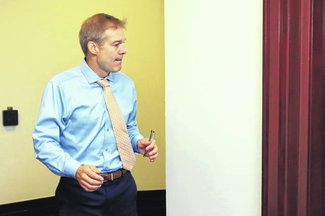 U.S. Rep. Jim Jordan, R-Urbana, arrives for a House Republican Conference meeting on Capitol Hill in Washington on Wednesday.