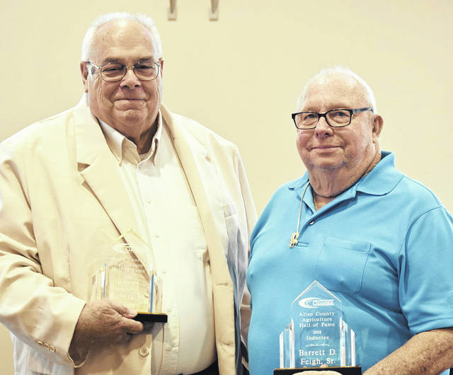 Robert W. Core (left) and Barrett D. Feigh Sr. are the newest members of the Allen County Ag Hall of Fame.
