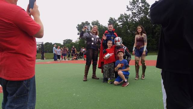Dr. Strange, Wonder Woman, Ant-man and Dr. Strange make an appearance for photos at the Allen County Abilities Baseball League. (Photo provided)
