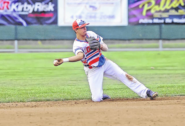 Lima Locos' Michael Diffley throws from his knees to first against Irish Hills during Sunday's game at Simmons Field.