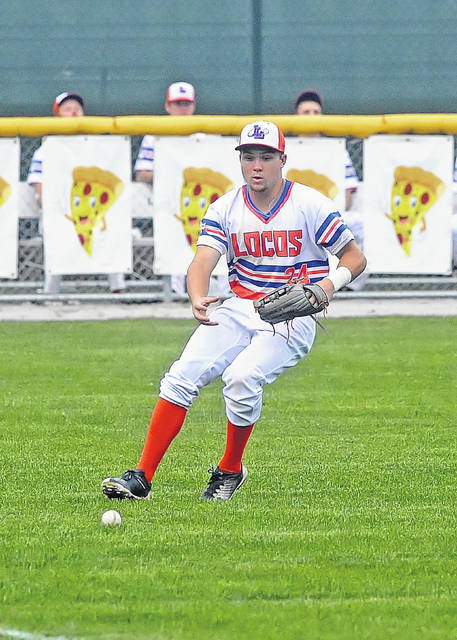 Lima Locos Judson Ward runs down the ball against St. Clair during Tuesday's game at Simmons Field.