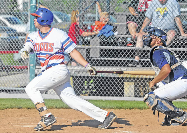 Lima Locos' Daniel Seres hits an RBI double against Richmond Jazz during Sunday's game at Simmons Field.