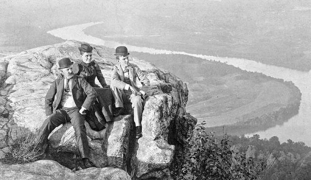 This undated photo shows Mr. and Mrs. Samuel A. Baxter Jr. with Don A. Baxter, posing at Lookout Mountain. The Baxter home was at Baxter and Market streets, where St. Rita's Medical Center is today.