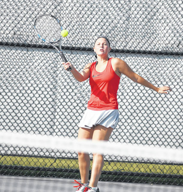 Wapakoneta's Makayla Schroeder returns a shot during doubles competition at the Lima Area Tennis Association mixed doubles tournament. She, along with her doubles partner, Brian Schroeder lost in the quarterfinals.