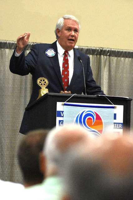 Mike Swick, President and CEO of Lima Memorial Health System addresses the Lima Rotary Club luncheon on Monday.
