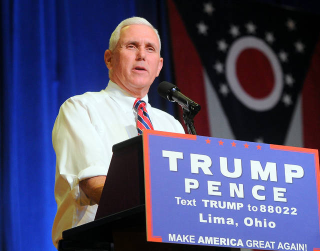 Republican Vice Presidential candidate Mike Pence speaks during a Campaign Rally at the UNOH Student Event Center on Friday.  Richard Parrish | The Lima News