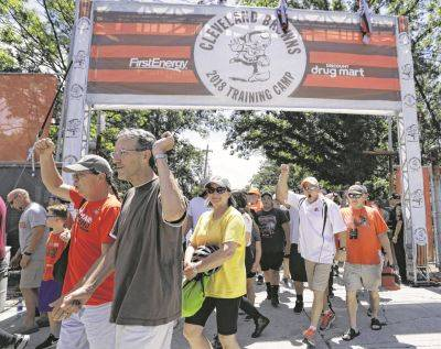 Cleveland Browns fans arrive Thursday for the team's first day of training camp in Berea.