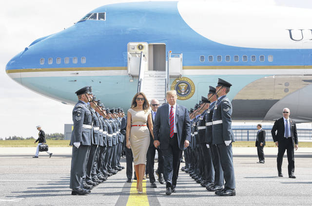 U.S. President Donald Trump and first lady Melania Trump arrive at London's Stansted Airport on Thursday.