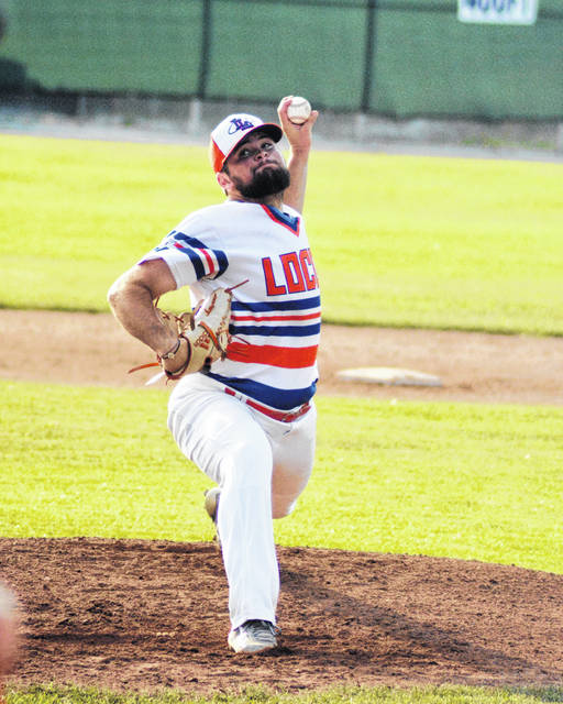 Tanner Hall pitches for the Lima Locos during Tuesday night's game against the Saginaw Sugar Beets at Simmons Field. Dean Brown | The Lima News
