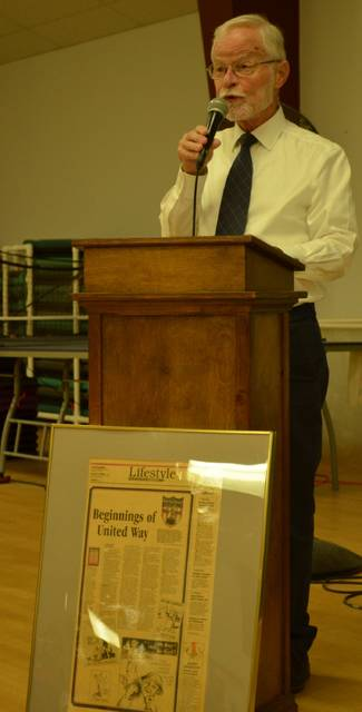 Longtime United Way of Greater Lima volunteer David Adams gives a presentation on the history of United Way in Lima during the kickoff event of the organization's 100th anniversary.