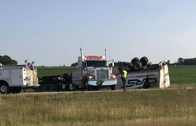 The eastbound lanes of state Route 30, east of Van Wert were shut down for several hours due to a tractor-trailer rig that rolled over. Lifeflight was called to transport the driver to an area hospital.