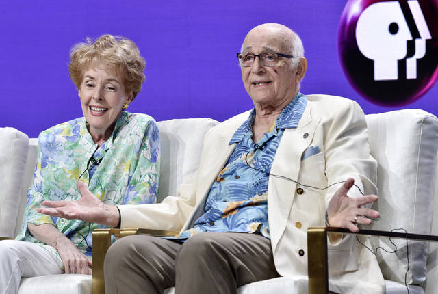 """Actors Gavin MacLeod, right, and Georgia Engel take part in a panel discussion on the PBS special """"Betty White: First Lady of Television"""" during the 2018 Television Critics Association Summer Press Tour at the Beverly Hilton on Tuesday in Beverly Hills, Calif."""