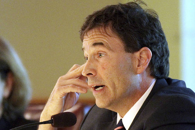 FILE – In this April 24, 2012, file photo, Ohio state Sen. Troy Balderson, R-Zanesville, asks a question about permit fees for owning exotic animals during an Ohio Senate Agriculture, Environment and Natural Resources Committee hearing in Columbus, Ohio. Balderson and Danny O'Connor, a Democrat serving as recorder of Franklin County, Ohio, are running in a special congressional election on Tuesday, Aug. 7, 2018, to determine who will fill out the final months of the term of former U.S. Rep. Pat Tiberi, a Republican who retired in January 2018, before both candidates face off again for the retired lawmaker's seat in the Tuesday, Nov. 6, 2018, general election. (James Miller/The Marion Star via AP, File)
