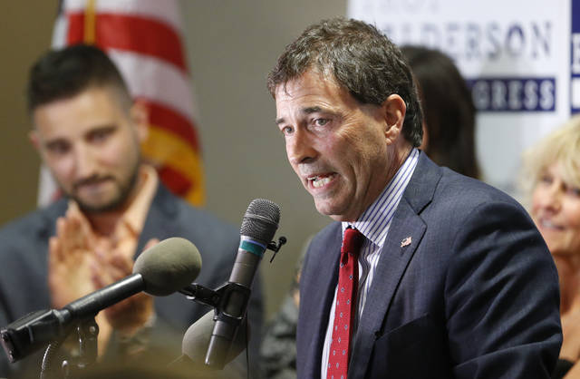 Troy Balderson, Republican candidate for Ohio's 12th Congressional District, speaks to a crowd of supporters during an election night party Tuesday in Newark.