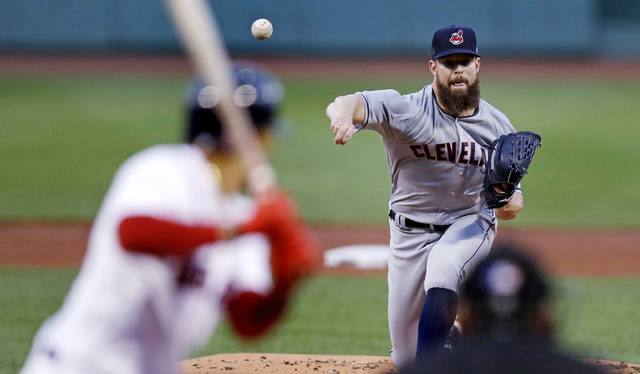 Cleveland Indians starting pitcher Corey Kluber delivers during the first inning of a baseball game against the Boston Red Sox at Fenway Park in Boston, Monday.