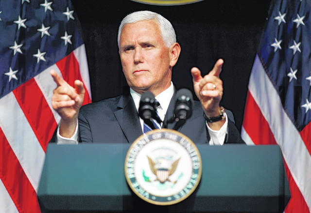 Vice President Mike Pence gestures during an event on the creation of a U. S. Space Force, Thursday, Aug. 9, 2018, at the Pentagon. Pence says the time has come to establish a new United States Space Force to ensure America's dominance in space amid heightened completion and threats from China and Russia.