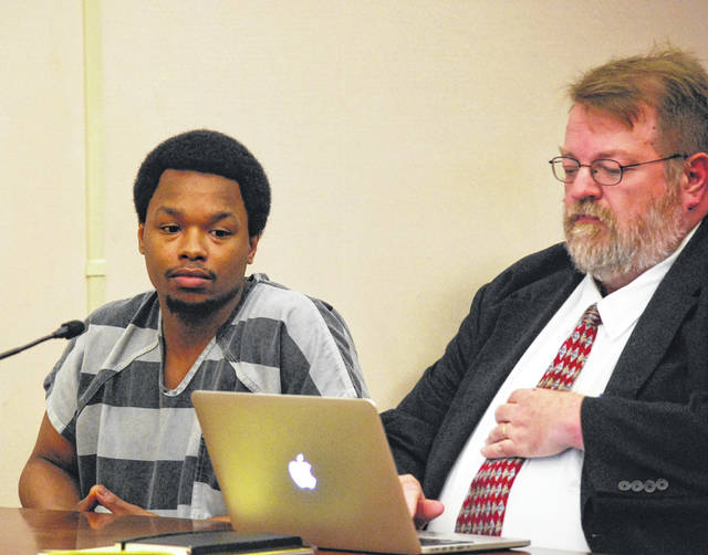 Darius Relford, shown with his attorney, Steve Chamberlain, got five years in prison Thursday in Allen County Common Pleas Court for taking part in a drive-by shooting in Lima in March of this year. A co-defendant in the case, Trey Ackles, was sentenced to seven years in prison for taking part in the shooting incident, which came shortly after the conclusion of the murder trial of Cory Jackson, in which Ackles was a key witness.