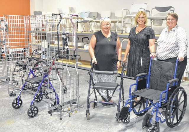 Peggy Combs, Beverly Watkins, Teri Shirk show off the medical equipment available through the new Medical Equipment Loan Program at Goodwill Easters Seals Community Service Center on 2350 Allentown Road.