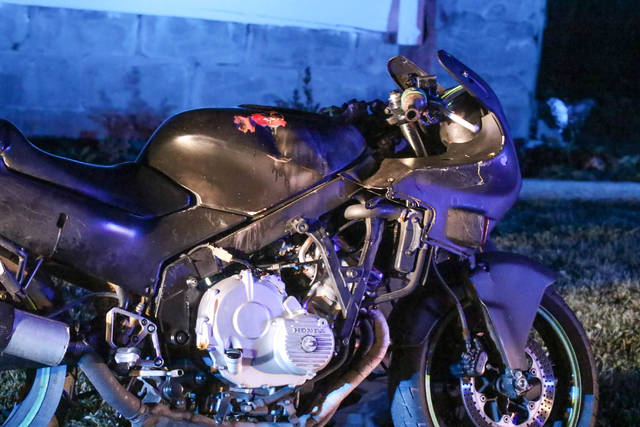 Ohio State Highway Patrol, assisted by Lima Police, engaged in a high speed motorcycle chase in the early hours of Friday morning. Around 1:15 AM officers were in a pursuit that ended on the 400th block of Ewing Avenue in Lima.     Levi A. Morman | The Lima News